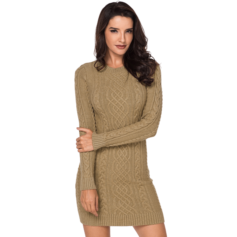 Long Sleeve Solid Color Cable Sweater Dress  Bodycon Sweater Dress