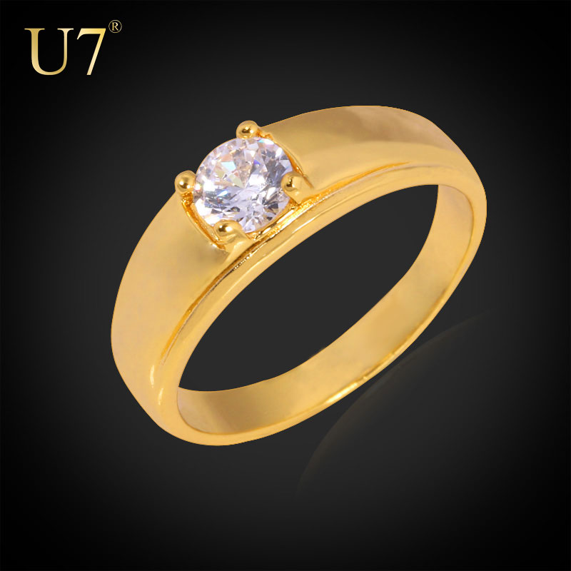 U7 Simple Gold Ring Designs Wedding Band Engagement Rings For Women