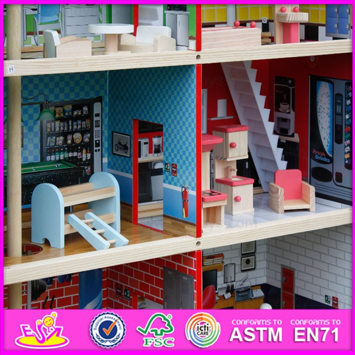 2016 new design pretend toy kids wooden model doll house W06A138