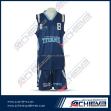 Full sublimation printing color best sample basketball uniform black
