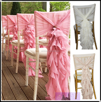 Fancy Chiffon Ruffled wedding chair covers chair sash hood banquet chair cover