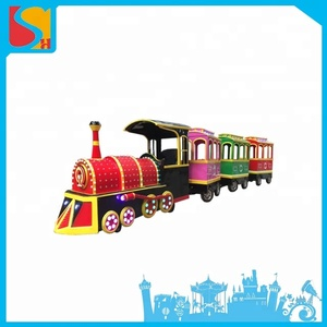 Amusement park equipment animal model elephant electric battery operated sightseeing tourist road mini track train for sale