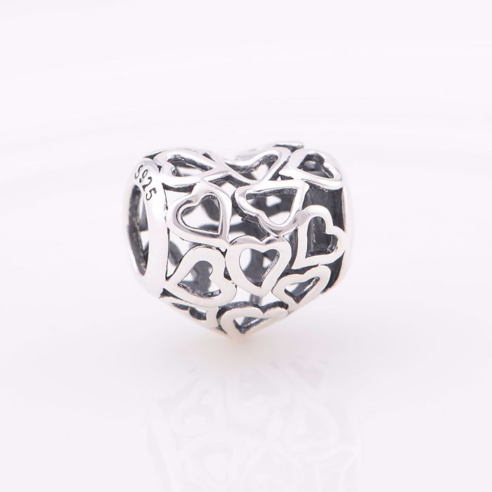 Opening Work Heart Silver Beads Wholesale Large Hole Silver Beads Fit For European Snake Bracel