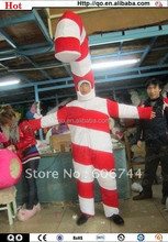 Newest design funny christmas candy cane costume for adult