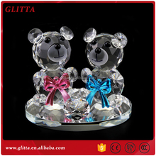 Glitta Cute double crystal teddy bear with love heart,wedding crystal on sale CG084