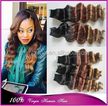 factory cheap price 7a quality 1b/33/27# brazilian deep wave human hair ombre tape hair skin weft