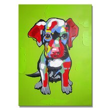 Modern Handmade Pop Animal Oil Painting, Colorful Cute Animal Wall Art