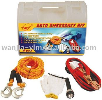 car first aid kits,emergency kits(booster cable,gloves,tow rope,torch included)