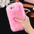 New 100% Real Rabbit Fur Case For iPhone 6 6s / 6s Plus Fashion Luxury Cute Cartoon Hair Bling Diamond Cover For iPhone 6 Plus