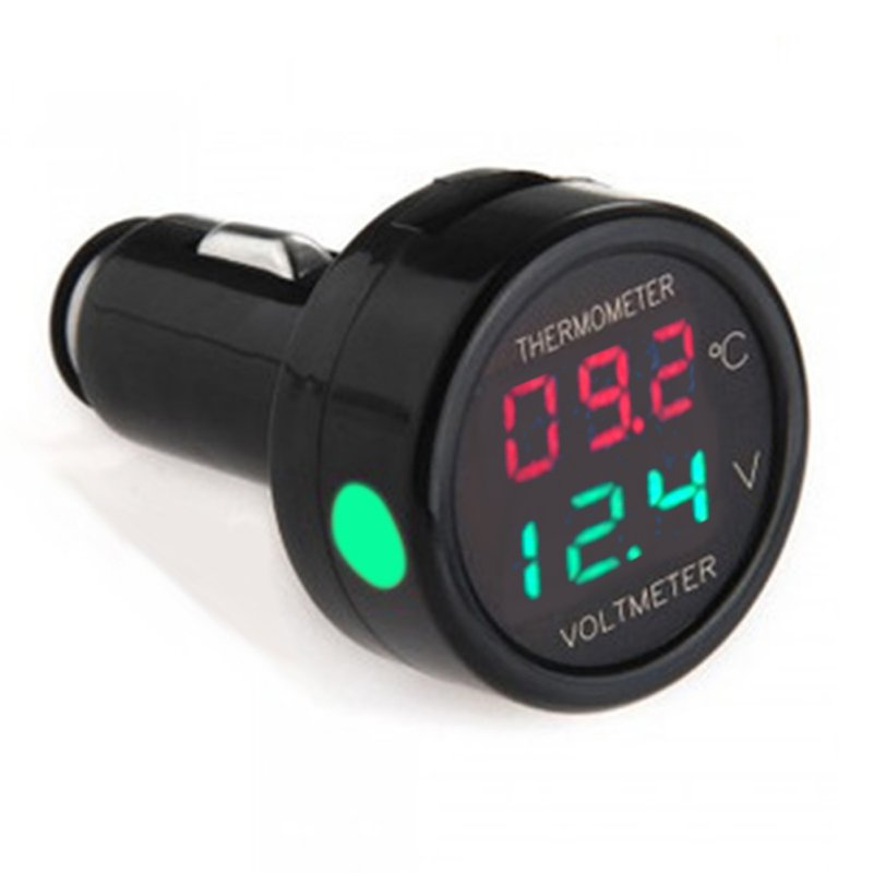 Car <strong>Auto</strong> 12V Dual Display LED Digital Thermometer Voltmeter 3 Colors Voltage Meters Temperature Meter