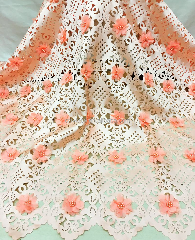 Latest cutwork lace embroidery designs 3d flowers laser cut lace fabric J848-5