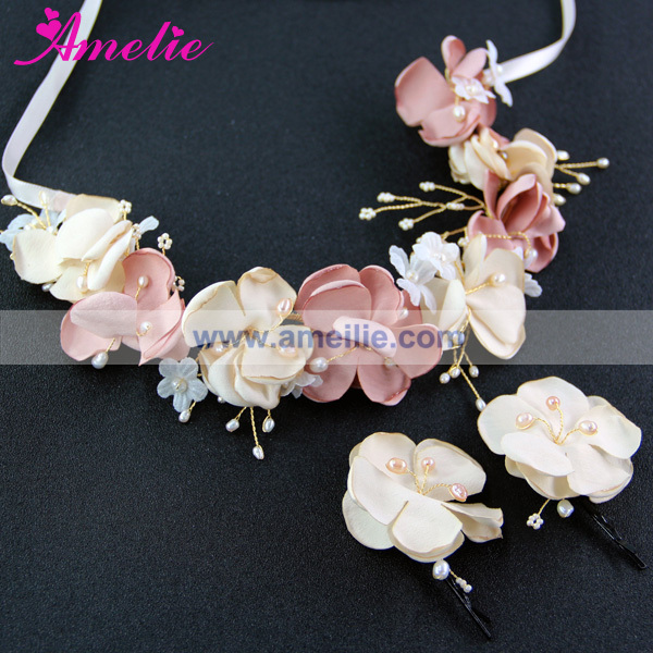 Handmade Hawaiian Flowers Crown Bridal Vine Flower Girl Festival Hair Jewelry Accessories Floral Crown Headpieces