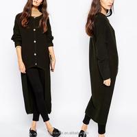 Sweater oversized rib high cardigan knitted fabric button fastening knitwear women fashion latest front short back long design