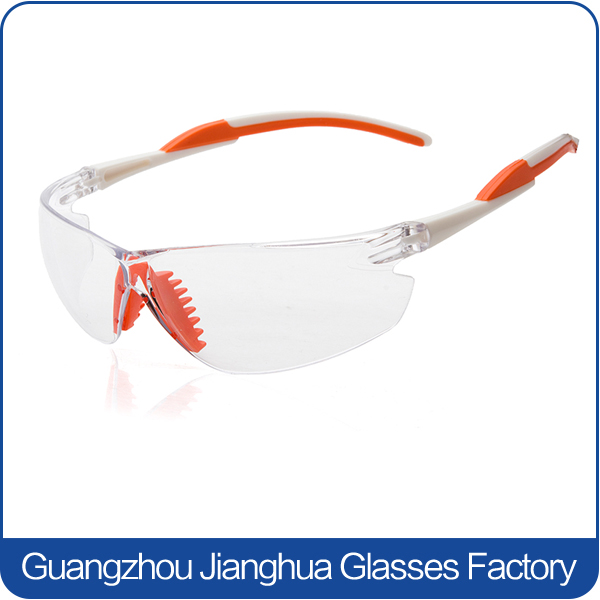 High impact 2.2mm polycarbonate lenses orange rubber tips unisex industrial glasses
