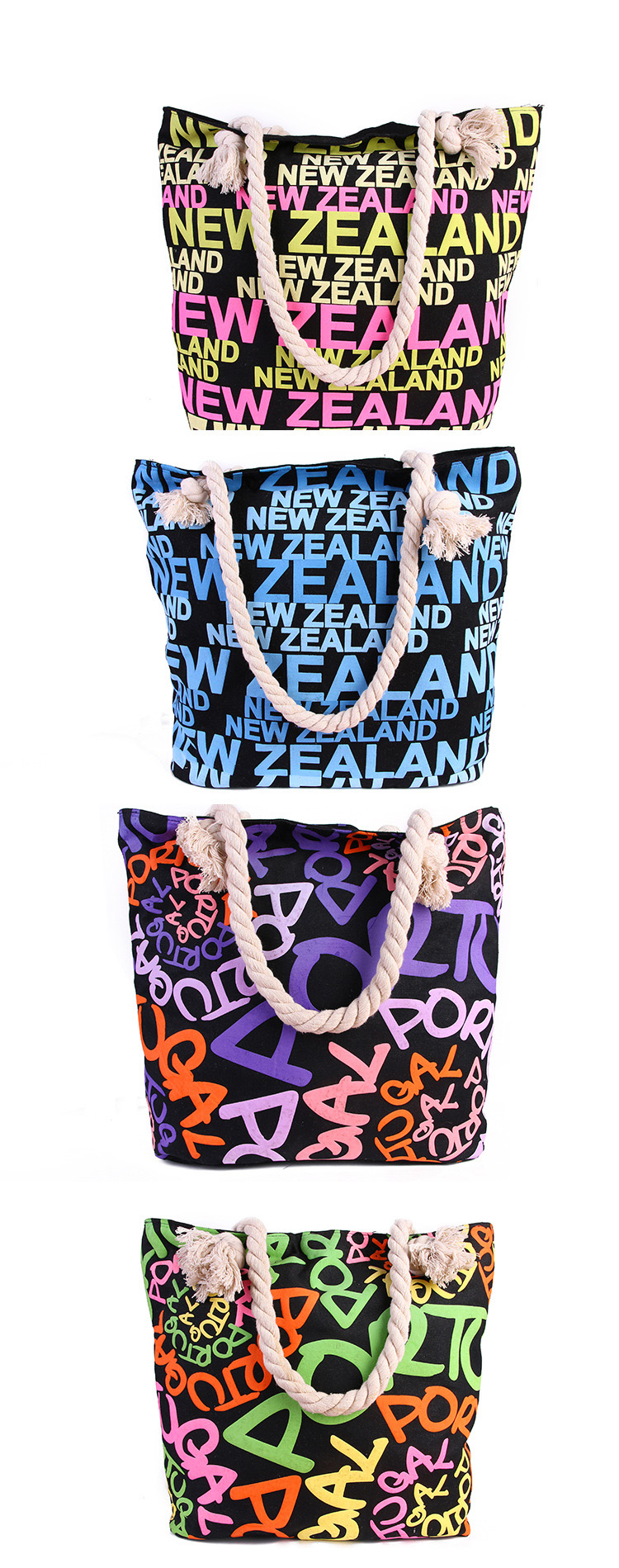 hot summer necessary printing promotional canvas rope handle beach bag wholesale