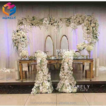 event wedding dining party gold stainless steel rectangle black tempered glass top crystal customized table