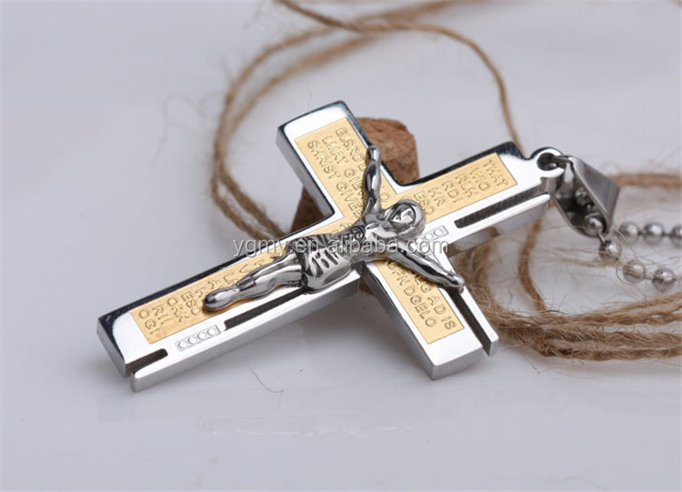 Fashion God Jesus Cross charm Pendant Gold Plated Men's Jewelry Fashion Stainless Steel Cross Necklace For Men