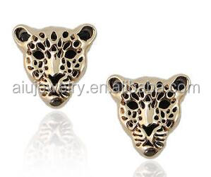 Yellow Gold stud leopard earring women