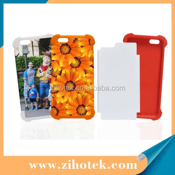 For iPhone 6 plus mobile phone cover 3D sublimation 2 in 1 cases blank sublimation