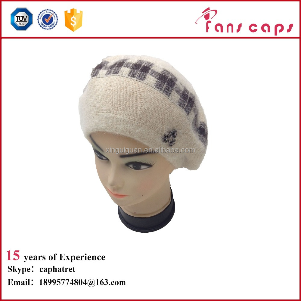 New arrival 30% angora and 70% wool beanie cream hat