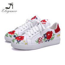 2017 Latest Design Wear-Resisting White Genuine Leather Embroidered Flower Sneakers Women
