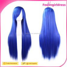New Impressive Bright Blue Long Straight Wigs For Black Women Hot