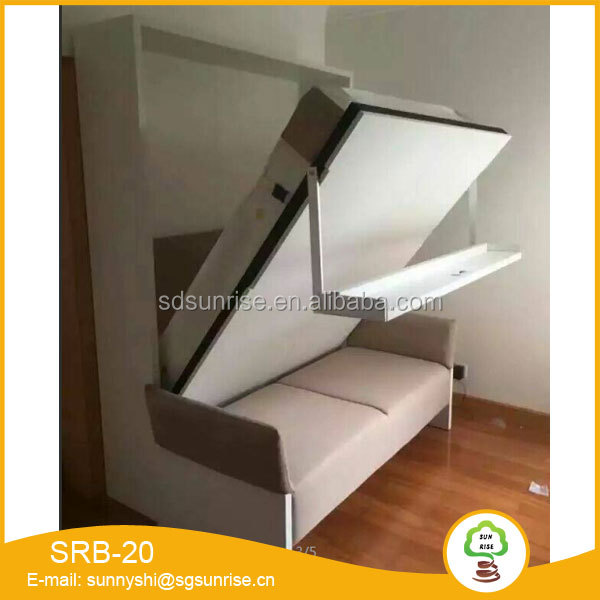 Vertical free standing folding wall bed with sofa