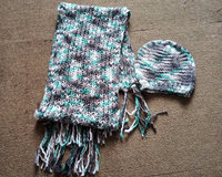 Ladies fancy yarn acrylic knitted metallic scarf and hat