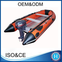 CE approved pvc/hypalon materail aluminum floor inflatable boat with boat engine