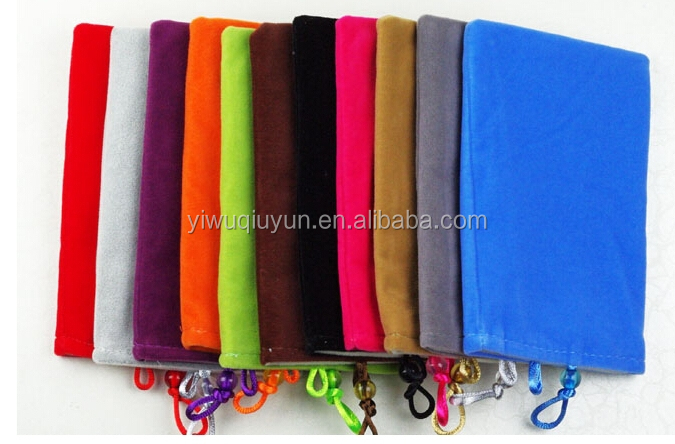 4.3-inch (10*15cm) Mobile Phone Protective Pouch Beads Double Velvet Bag Mobile Power Protection Bag Cell Phone Bag
