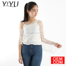 Summer Fashion women Hollow Off the Shoulder Shrug knit pattern crop top