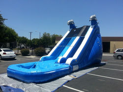 Commercial Blue Marble 18ft Waterslide Inflatable Wet/Dry Bounce House