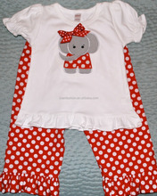 Elephant Applique Ruffle T-shirt and Red Polka Dot Baby Sets