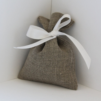 French grey natural linen wedding favor gift bags