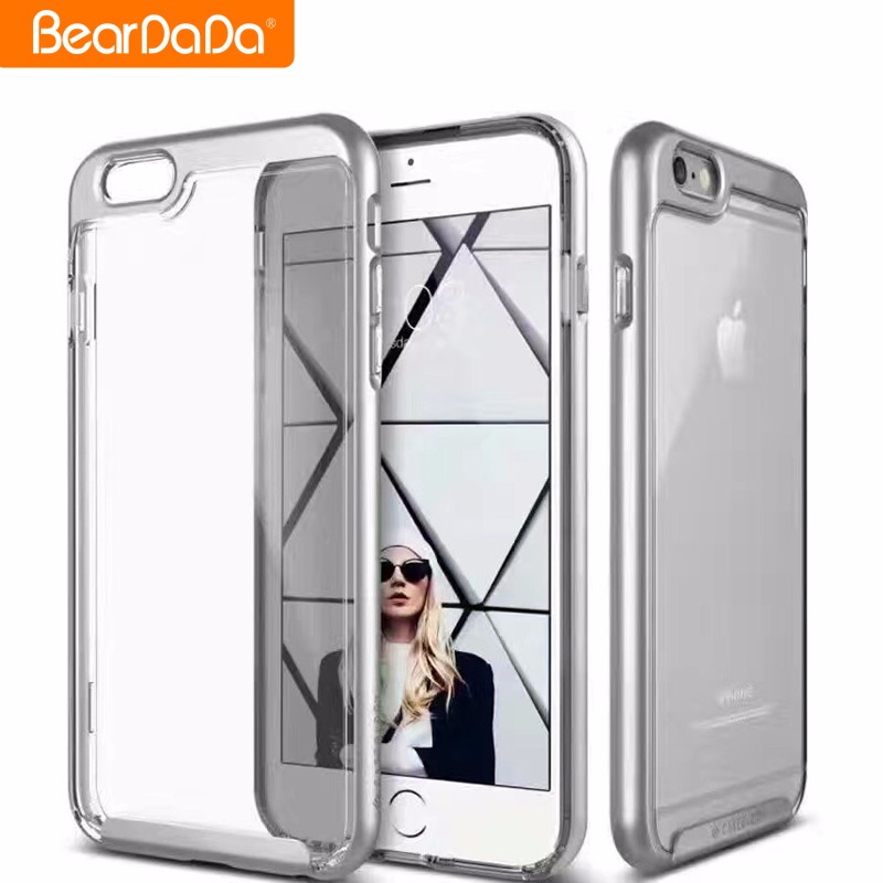 Popular Style clear tpu acrylic hybrid mobile phone case for iphone 7