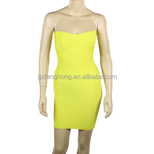High tight slit hand up classy bandage dress strapless sexy evening dress online shopping