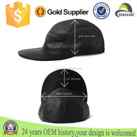 Embossed leather patch perforated leather custom 5 panel camp cap