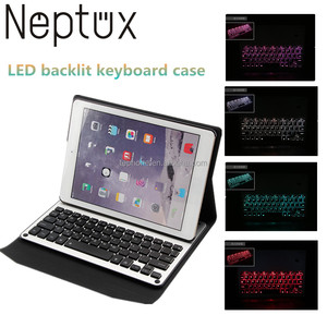 7 Colors LED Backlit Wireless Keyboard PU Leather case For Ipad air 2