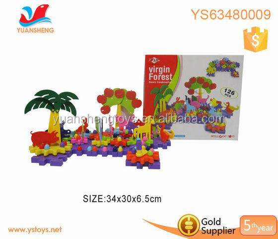 Funny b/o toy bricks DIY construction sets for children plastic toy gears