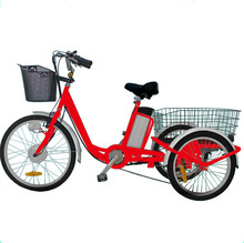 250W lithium battery Three wheel cargo pedal basket electric tricycle for adult