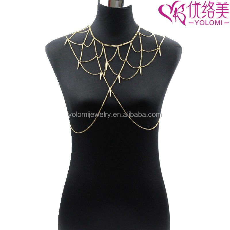 Body Chain Necklace Jewelry Gold and Silver Sexy Spiked Shoulder Chain Necklace For Women YM04