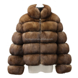 Wholesale Custom OEM Real Women's Winter Short Style Sable Mink Fur Coat with Fashion Design
