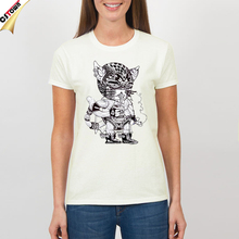 Mechanical Cat O Neck Printed Casual Cool Graphic T-shirt Tees