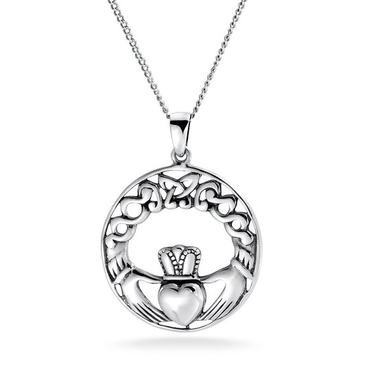 925 Sterling Silver Celtic Knot Claddagh Necklace 18""