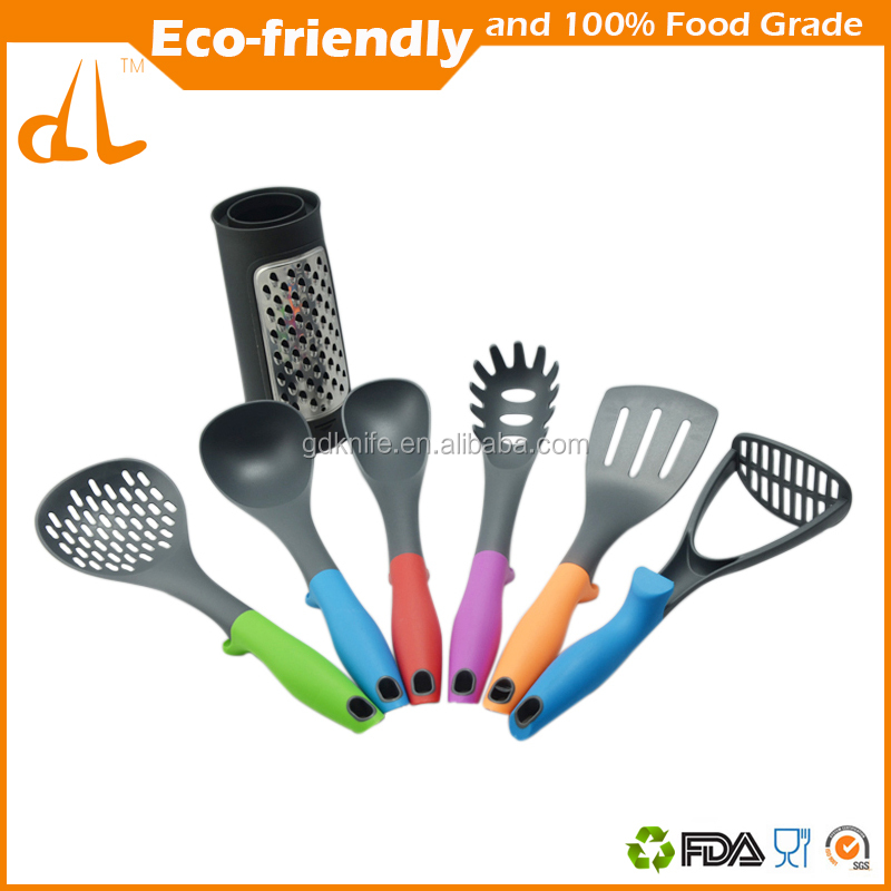 New style high quality 6 pcs with holder color TPR handle nylon kitchen tool,kitchen utensils