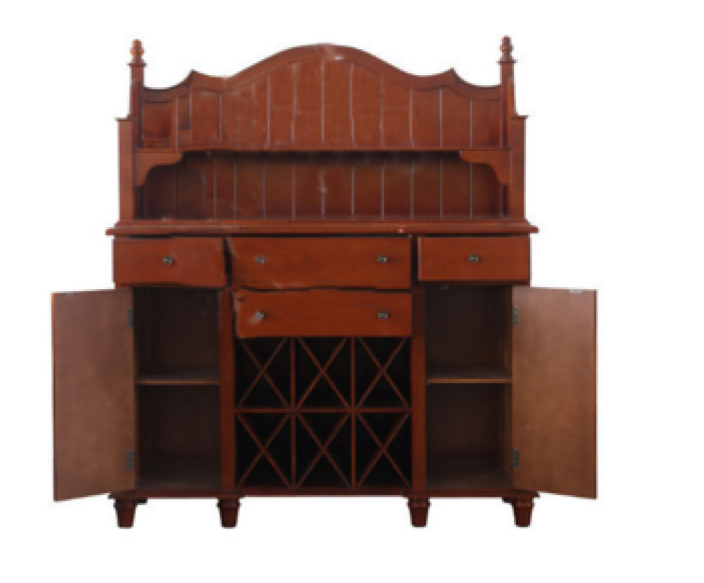 Vitrine cherry color kitchen buffet sideboard solid wood for Sideboard vitrine