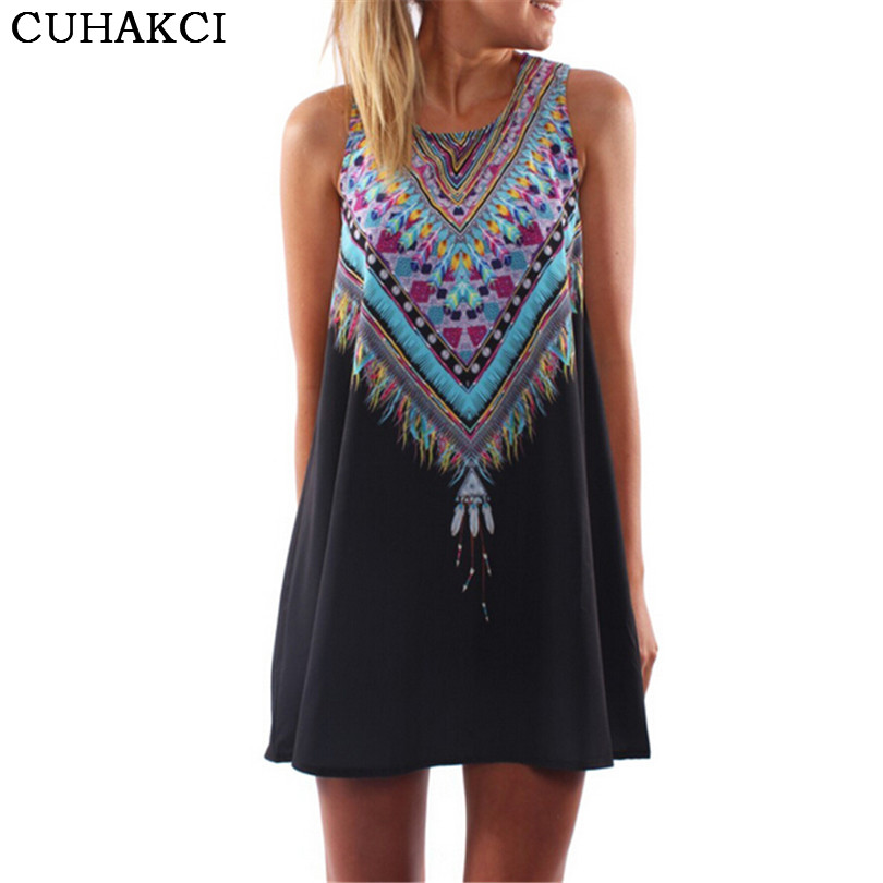 Women Boho Print Summer Dress Shorts Beach Sleeveless One Piece Dress Stylish