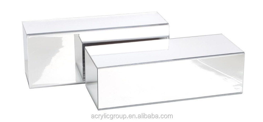 Manufacturer supplies rectangular mirrored acrylic risers set of 2