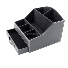 Rectangular Leather Desktop Pen Pot Organizer Stationery holder With Drawer