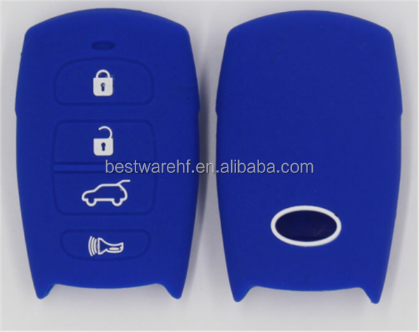 Silicone remote car key case for hyundai 4 buttons